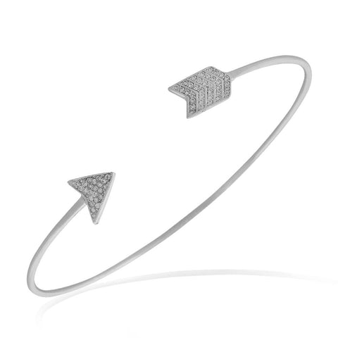 925 Sterling Silver White Clear CZ Arrow Open End Bangle Bracelet