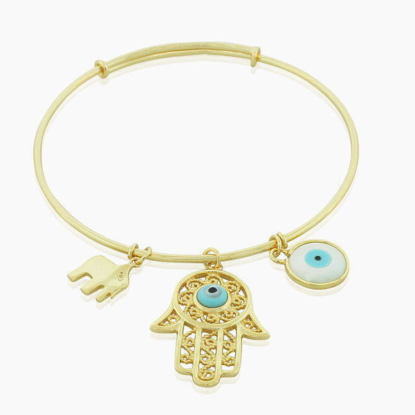 925 Sterling Silver Yellow Gold-Tone Hamsa Evil Eye Elephant Charm Bangle Bracelet