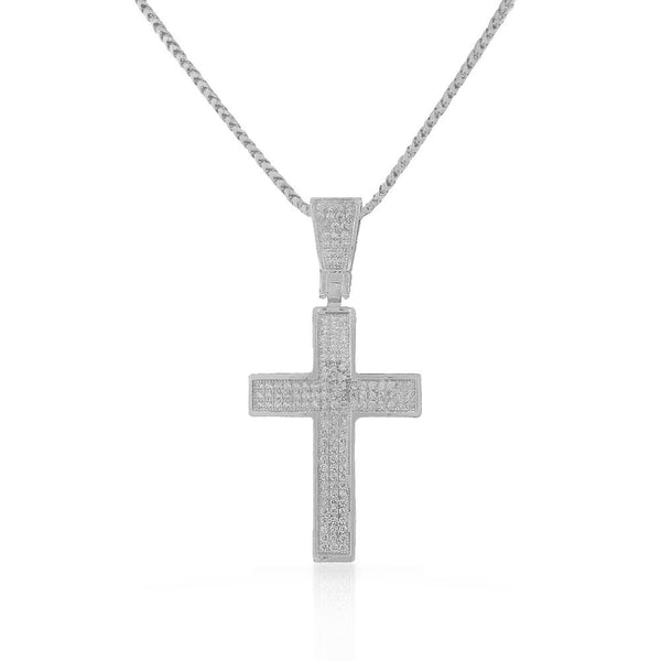 925 Sterling Silver White Clear CZ Large Statement Latin Cross Pendant Necklace