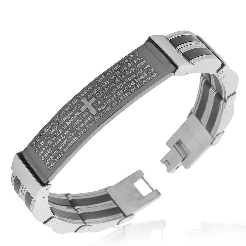 Stainless Steel Black Silver-Tone Lords Prayer in English Mens Link Bracelet