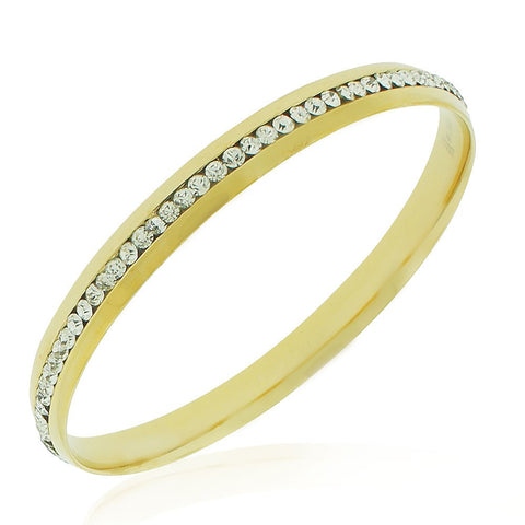 Stainless Steel Yellow Gold-Tone White CZ Classic Round Bangle Bracelet, 8""
