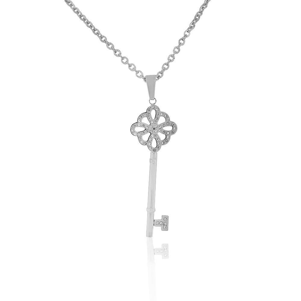 EDFORCE Stainless Steel Silver-Tone Clear CZ Large Statement Key Pendant Necklace