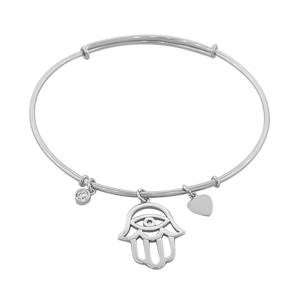 925 Sterling Silver Hamsa Evil Eye Love Heart Bangle Bracelet with Clasp