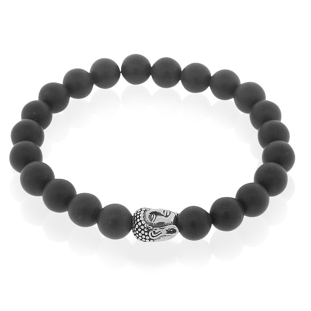 EDFORCE Stainless Steel Black Silver-Tone Buddha Beaded Stretch Mens Bracelet