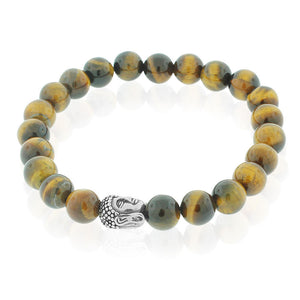 EDFORCE Stainless Steel Tiger Eye Silver-Tone Buddha Beaded Stretch Mens Bracelet