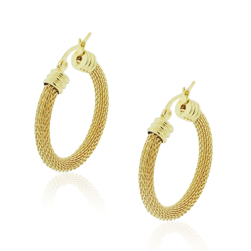 EDFORCE Stainless Steel Yellow Gold-Tone Mesh Classic Hoop Earrings