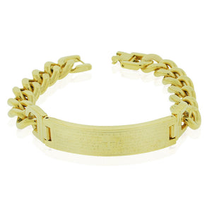 EDFORCE Stainless Steel Yellow Gold-Tone Padre Nuestro Prayer Spanish Mens Chain Bracelet