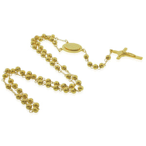 EDFORCE Stainless Steel Yellow Gold-Tone Nuestra Senora de Guadalupe Religious Rosary Beads Necklace, 32""