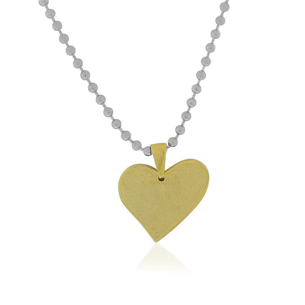 EDFORCE Stainless Steel Yellow Gold-Tone Love Heart Padre Nuestro Prayer in Spanish Pendant Necklace, 24""