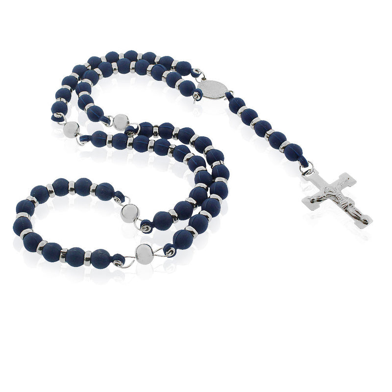 EDFORCE Stainless Steel Blue Rubber Silicone Silver-Tone Beads Religious Cross Rosary Necklace, 32""