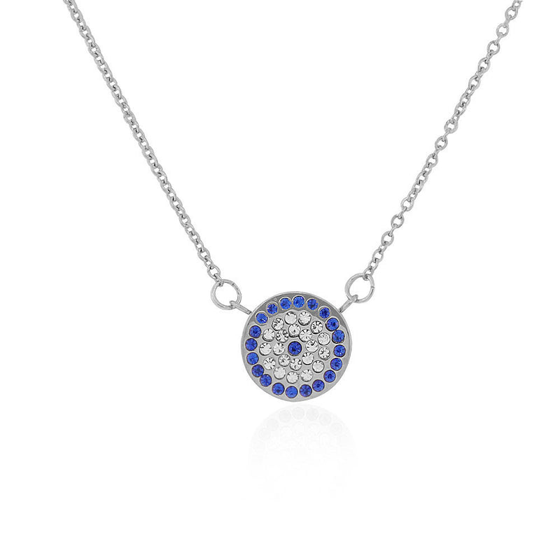 EDFORCE Stainless Steel Silver-Tone White Blue CZ Evil Eye Protection Pendant Necklace, 18""