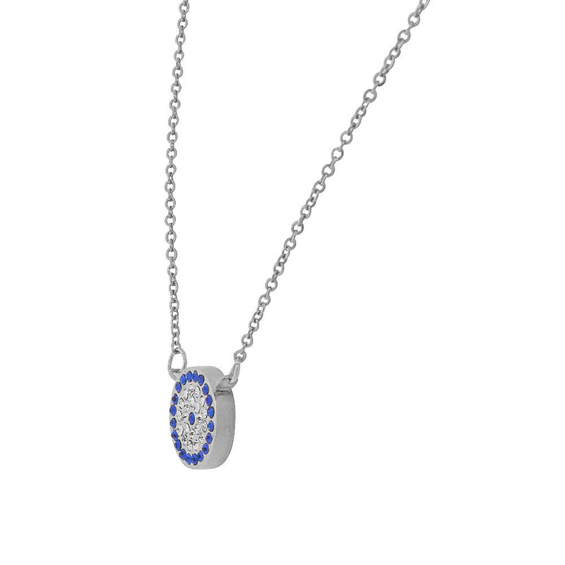 Evil Eye Necklace Pendant Cubic Zirconia Stainless Steel