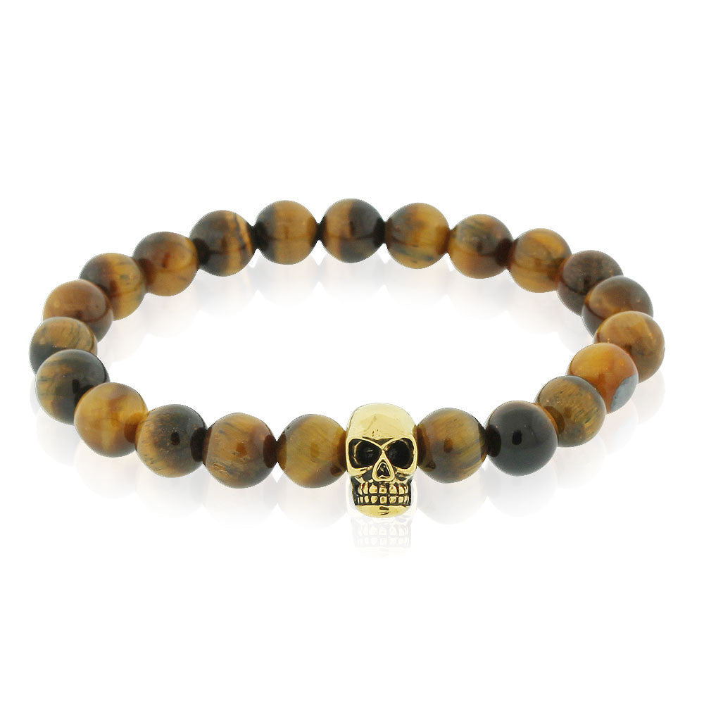 EDFORCE Stainless Steel Brown Simulated Tiger Eye Beads Gold-Tone Skull Mens Stretch Bracelet, 8""