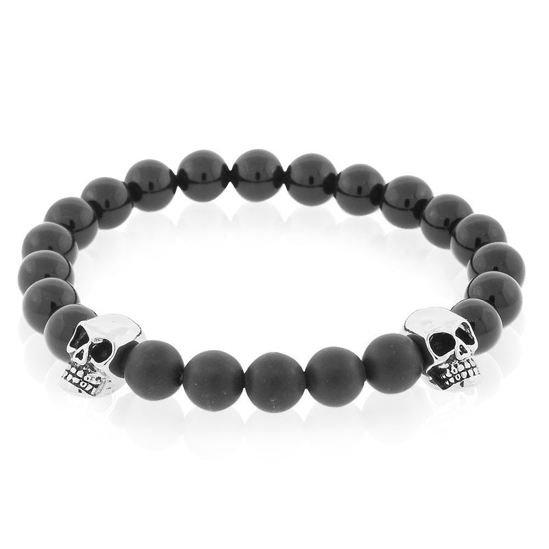 EDFORCE Stainless Steel Black Beads Silver-Tone Skulls Mens Stretch Bracelet, 8""
