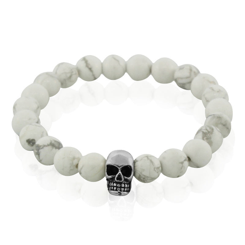 EDFORCE Stainless Steel White Simulated Marble Beads Silver-Tone Skulls Mens Stretch Bracelet, 8""