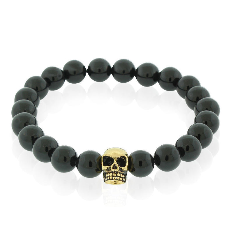 EDFORCE Stainless Steel Black Beads Yellow Gold-Tone Skulls Mens Stretch Bracelet, 8""