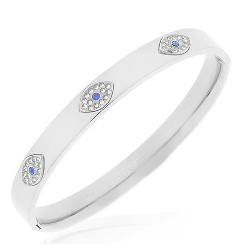 Stainless Steel Silver-Tone White Blue CZ Evil Eye Protection Bangle Bracelet, 7.5""