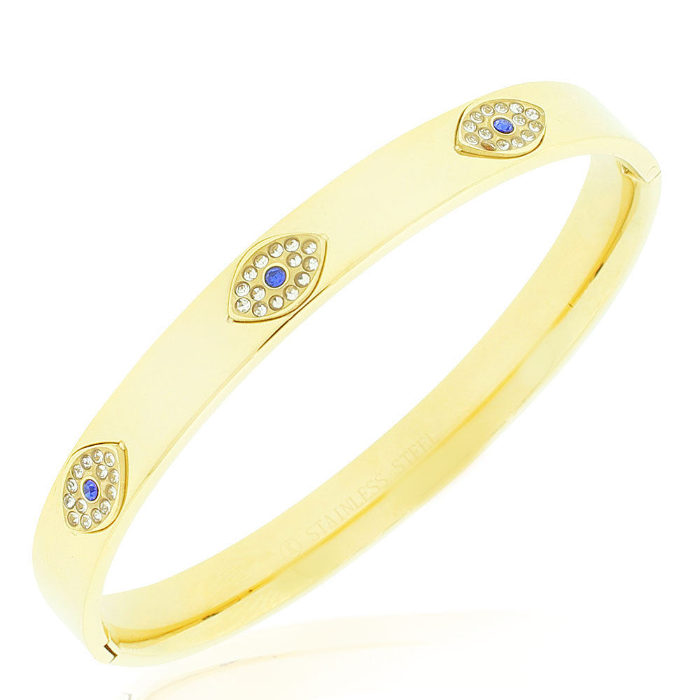 Stainless Steel Yellow Gold-Tone White Blue CZ Evil Eye Protection Bangle Bracelet, 7.5""