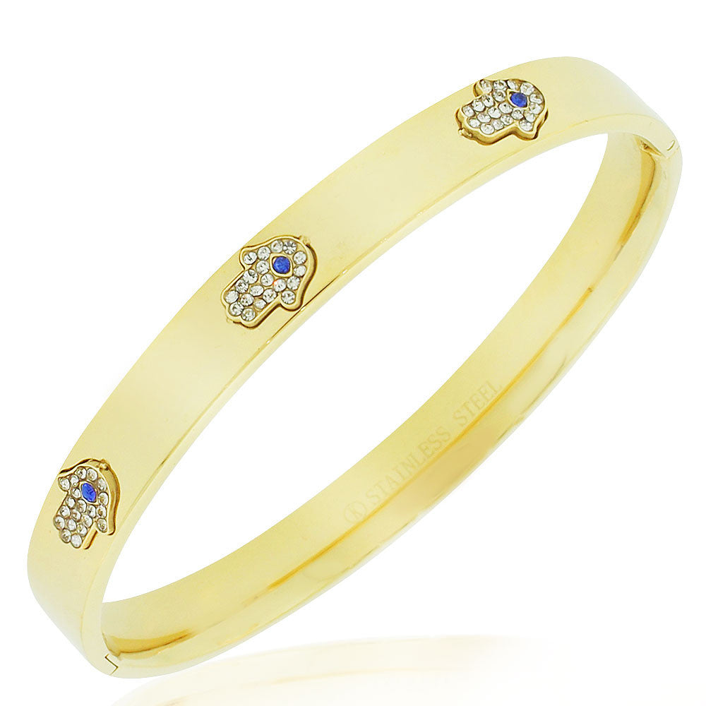 Stainless Steel Yellow Gold-Tone White Blue CZ Hamsa Good Luck Bangle Bracelet, 7.5""