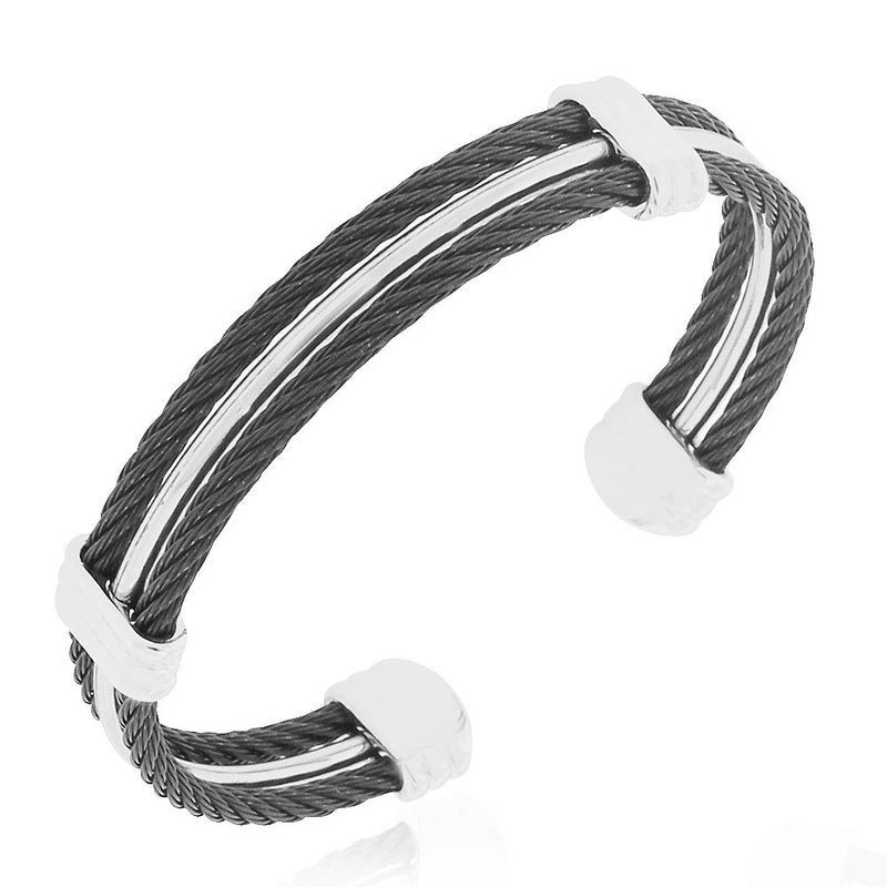 Stainless Steel Black Silver-Tone Twisted Cable Open End Bracelet