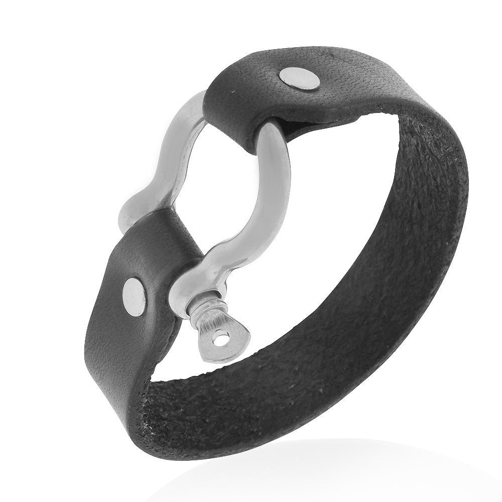 EDFORCE Stainless Steel Silver-Tone Black Leather Buckle Wristband Bracelet with Screw, 8""