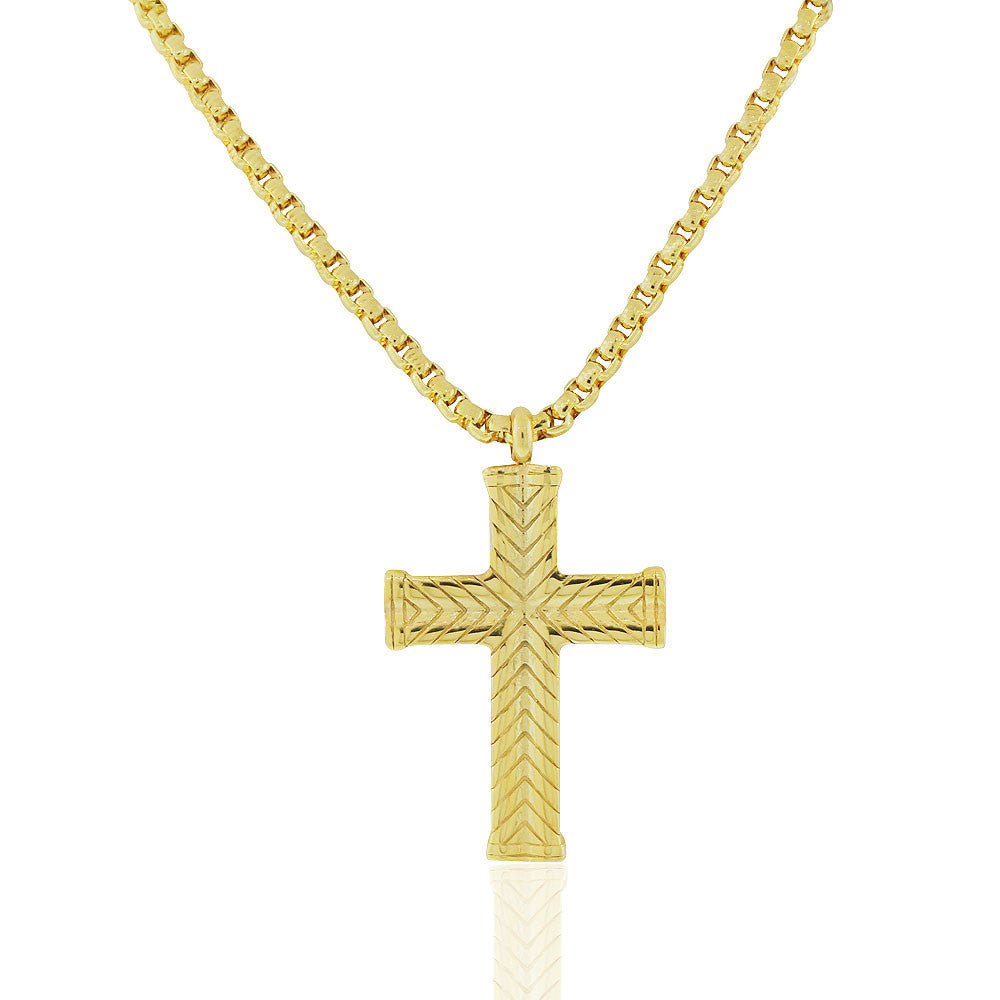 EDFORCE Stainless Steel Yellow Gold-Tone Large Statement Mens Cross Pendant Necklace