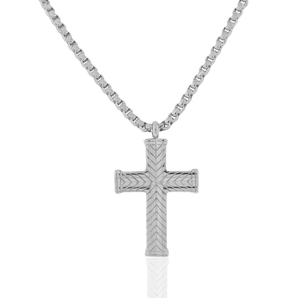 EDFORCE Stainless Steel Silver-Tone Large Statement Mens Cross Pendant Necklace