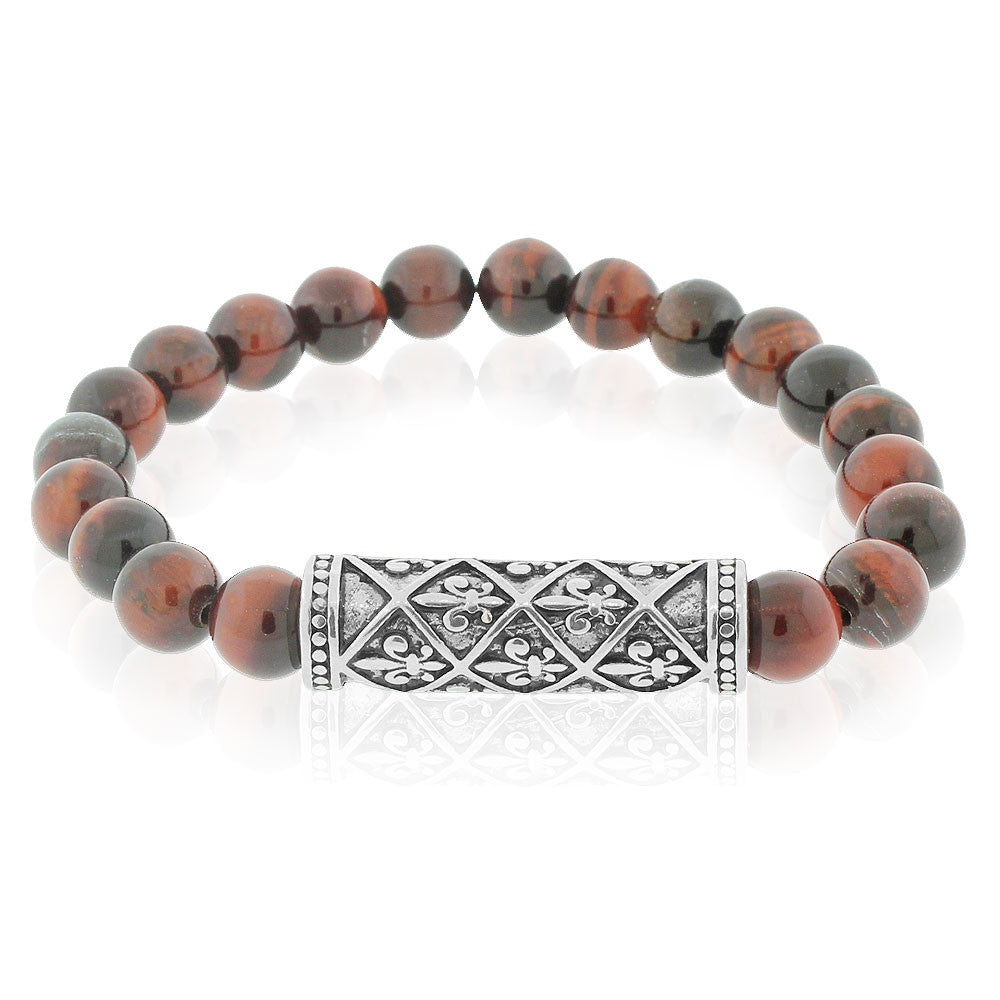 EDFORCE Fashion Alloy Brown Beads Fleur de Lis Beaded Stretch Mens Bracelet