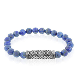 EDFORCE Fashion Alloy Blue Beads Fleur de Lis Beaded Stretch Mens Bracelet