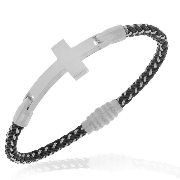 EDFORCE Black Silver-Tone Religious Cross Mens Bracelet with Clasp
