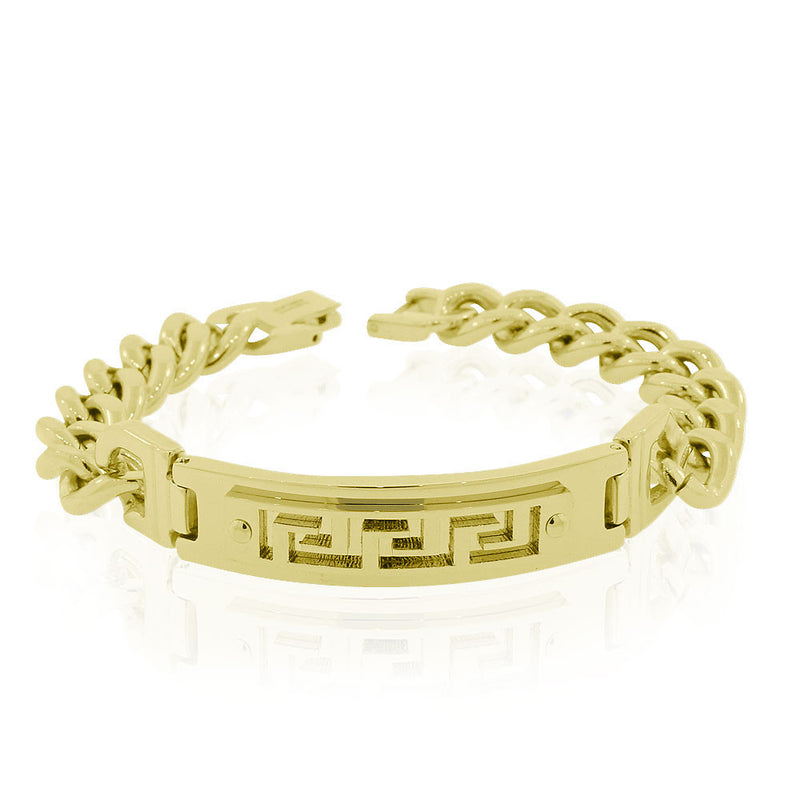 EDFORCE Stainless Steel Yellow Gold-Tone Greek Key Link Chain Mens Bracelet