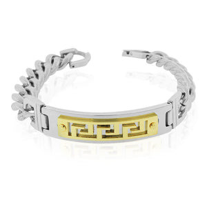 EDFORCE Stainless Steel Yellow Gold-Tone Silver-Tone Greek Key Link Chain Mens Bracelet