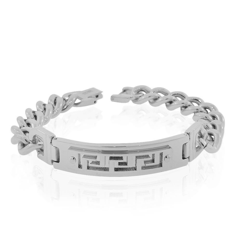 EDFORCE Stainless Steel Silver-Tone Greek Key Link Chain Mens Bracelet