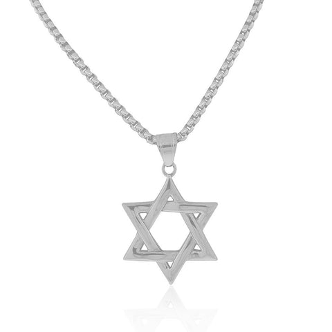 EDFORCE Stainless Steel Silver-Tone Large Statement Jewish Star of David Mens Pendant Necklace