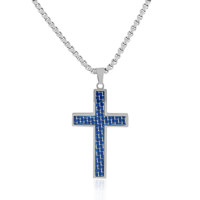 EDFORCE Stainless Steel Silver-Tone Simulated Blue Carbon Fiber Statement Cross Necklace