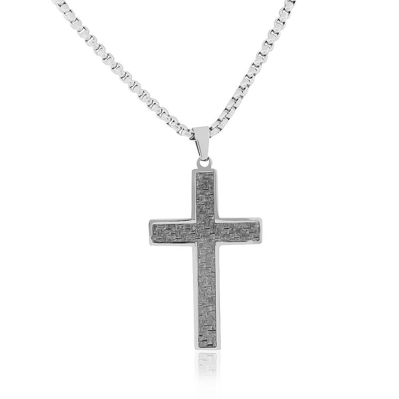 EDFORCE Stainless Steel Silver-Tone Simulated Carbon Fiber Statement Cross Necklace