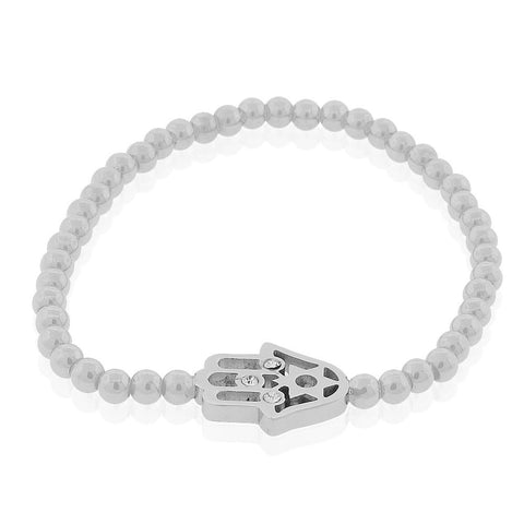 EDFORCE Stainless Steel Silver-Tone Hamsa Jewish Star of David CZ Stretch Beaded Bracelet, 6""