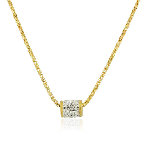 EDFORCE Stainless Steel Yellow Gold-Tone White CZ Bead Pendant Necklace, 19""