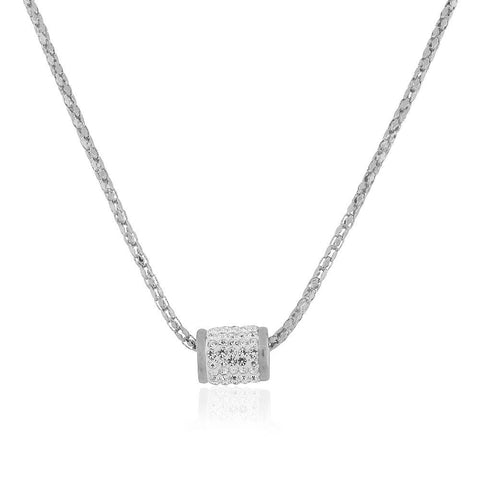 EDFORCE Stainless Steel Silver-Tone White CZ Bead Pendant Necklace, 19""