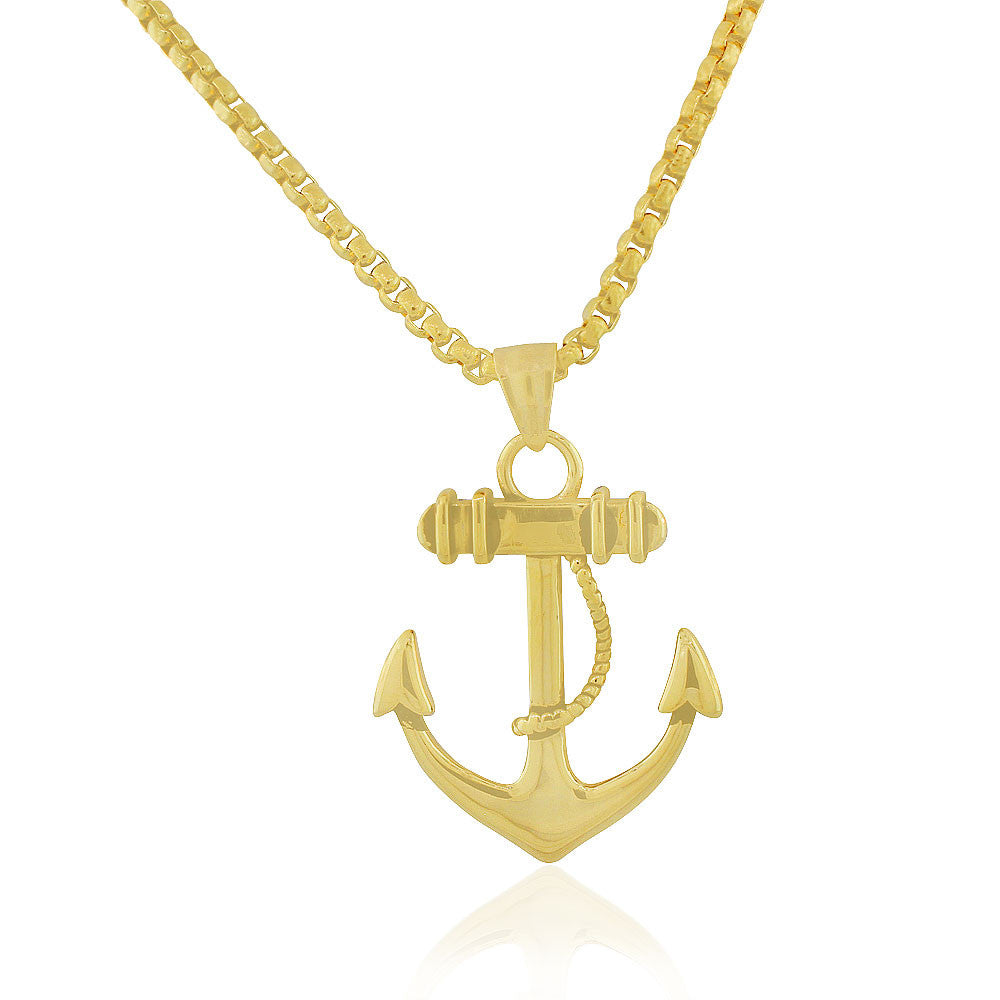 EDFORCE Stainless Steel Yellow Gold-Tone Large Statement Anchor Mens Pendant Necklace, 24""