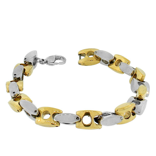 Stainless Steel Two-Tone Link Chain Men's Bracelet