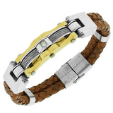 Stainless Steel Light Brown Leather White CZ Two-Tone Wristband Men's Bracelet