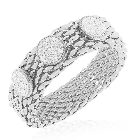Stainless Steel Silver-Tone Clear CZ Mesh Stretch Circles Bracelet, 8""