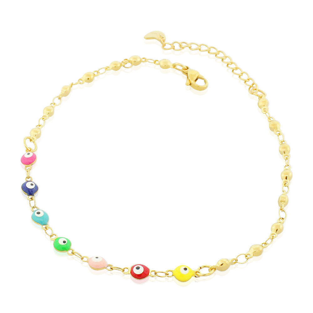 EDFORCE Stainless Steel Yellow Gold-Tone Multicolor Evil Eye Anklet Bracelet, 11""