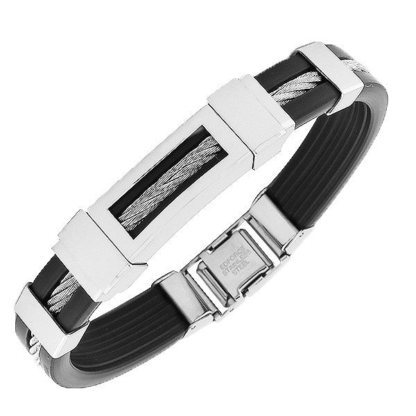 Stainless Steel Black Rubber Silicone Silver-Tone Twisted Cable Rope Bracelet