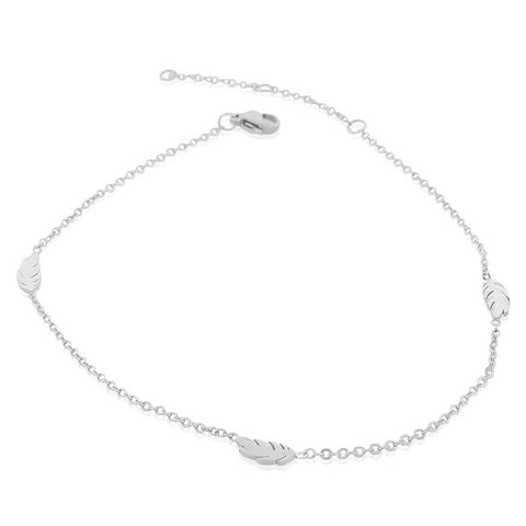 EDFORCE Stainless Steel Silver-Tone Feather Anklet Bracelet, 11""