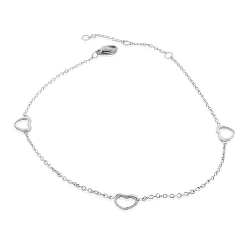EDFORCE Stainless Steel Silver-Tone Cut-out Love Heart Anklet Bracelet, 11""