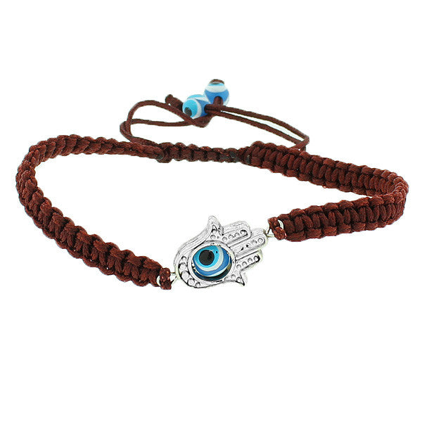 Fashion Alloy Brown Cord Evil Eye Hamsa Macrame Adjustable Bracelet