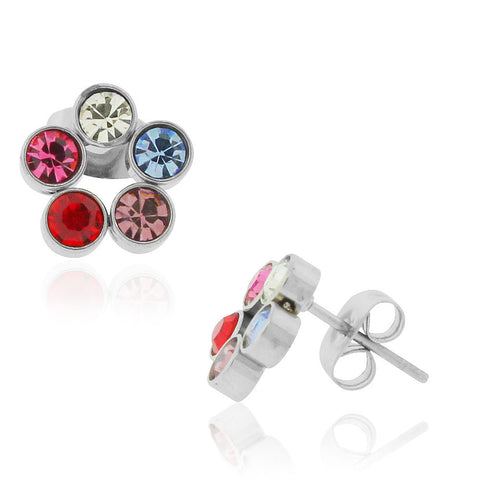 EDFORCE Stainless Steel Multicolor CZ Floral Flowers Stud Earrings. 0.40""