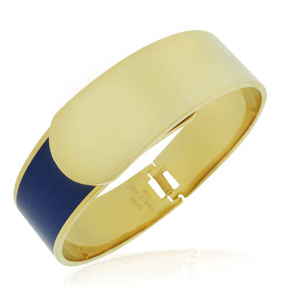 EDFORCE Stainless Steel Yellow Gold-Tone Blue Large Statement Bracelet Bangle, 8""
